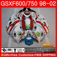 Nouveau corps blanc rouge pour Suzuki Katana GSX600F GSXF750 1998 1999 2000 2001 2002 2HC.53 GSXF 750 600 GSX750F GSXF600 98 99 00 01 02 Kit de carénage