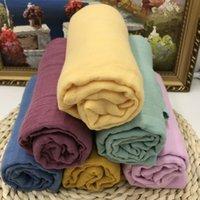 LASHGHG 100% хлопок сплошной цвет Муслиновая пеленаж Одеяла новорожденного Мягкая упаковка детское постельное белье Ванное полотенце оптом