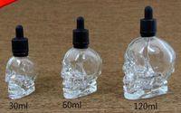 vape E Saftflaschen 120ml Tropfflaschen aus Totenkopfglas mit kindersicherem Verschluss Benutzerdefiniertes Logo in klarer Farbe