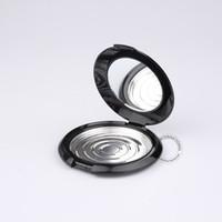 50 x 10g en plastique noir poudre / fard à joues pot avec miroir + aluminium plateau vide Portable cosmétiques boîte + couvercle flip contenants d'emballage