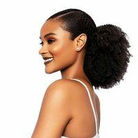 Cabelo Humano Afro Pufftail Com Cordão Rabo de Cavalo Curto Kinky Curly Hair Bun Extensão Donut Chignon Hairpieces 120g Updo Extensões de Cabelo com Clips