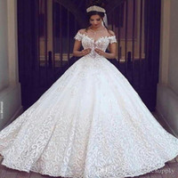 Nuovi abiti da sposa in pizzo vintage 2019 Sexy Off the Shoulder Maniche corte Applique Sweep Train A Line Sexy abiti da sposa su misura