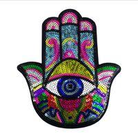 Carino mano Eye paillettes zone del ricamo di Applique Sew On o ferro su vestiti o borse Forniture per cucire decorativo patch EP2020