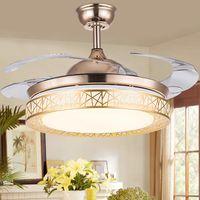 Ventilatore a soffitto oro luce ventilatore a soffitto da 42 pollici LED lampada a soffitto Utilizzato per lampada soggiorno camera da letto 110-220 v spedizione gratuita