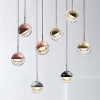 Nordic Kolye Işıkları LED Küre Gül Altın Kristal Top Lamba Yemek Oturma Odası Bar Mutfak Asılı Lamba Armatür Süspansiyon