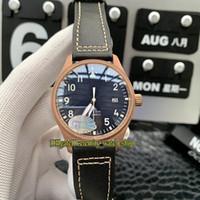Лучшая версия Pilot's Watches Spitfire Fighter Series Bronze Case 327004 Световой синий циферблат Miyota 9015 Автоматические мужские часы Watch Sports