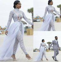 Wunderschöne Overalls mit abnehmbaren Zug Brautkleider High Neck Perlen mit langen Ärmeln Strand Hochzeitskleid Afrikanische Brautkleider 2020