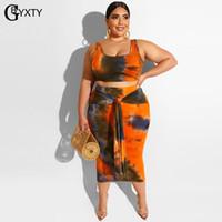 GBYXTY Plus Size 4XL Summer Beach Tie Dye 2 pièces Tenues recadrée Débardeurs et Jupe longue Femmes Big Size Two Piece Set ZL670