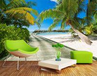Fondo Del Mar Beach View Fotografía de grandes murales 3D árboles de coco Puente de madera de la sala del dormitorio del contexto de fotos papel pintado