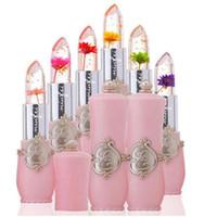 모이스처 라이저 오래 지속되는 젤리 꽃 립스틱 메이크업 온도 다채로운 립 밤 핑크 Pintalabios 투명 립글로스를 변경