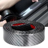 2.5 m Carbono Suave Negro Bumper Strip Fibra De Goma DIY Puerta Sill Protector Edge Guardia Pegatinas de coches Car Styling Accesorios