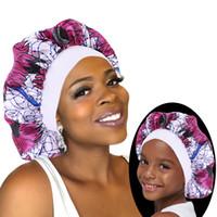 2 adet / set Saten Bonnet Uyku Cap Annem ve Ben Kız Afrikalı Baskı Çocuk Turban Saç Kapak Bebek Şapka Saç Aksesuarları