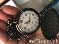 Großhandel Quarz Schwarze Uhren Halskette Kette Solide Retro Taschenuhren