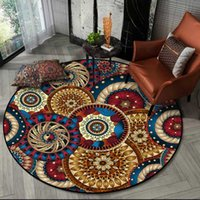 Ethnic Style Living Room Round Carpet Bohemian Garland Flowe...