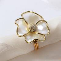 Цветы кольцо для салфеток White Pearl Форма кольца для салфеток для отеля красивой салфетку пряжки свадьба украшение стола YSY338-A