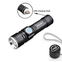 USB LED mini linterna de la antorcha del bolsillo de la luz del flash LED de la lámpara de la lámpara con zoom para montar una luz fuerte portátil al aire libre