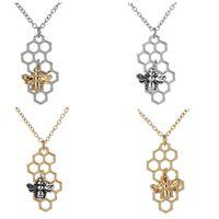 Hive Colares de Prata de Ouro Abelha No Favo De Mel Colares Pingentes Charme jóias personalizadas animais de moda colar geométrico