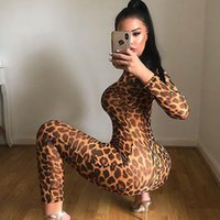 Dada Fashion 2020 New Long Sleeve Leopard Print Tight Jumpsu...