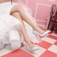 Bombas mulheres Photo reais couro branco paillette ponto do dedo do pé de borracha fina de fundo sapatos de saltos bombas vestido de festa deslizamento em sapatas de vestido de casamento