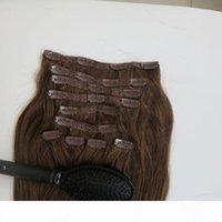 220G 10PCS مجموعة 20 22inch كليب في الشعر التمديد الإنسان البرازيلي الشعر 6 # بني متوسط اللون ريمي مستقيم الشعر ينسج مشط مجانا