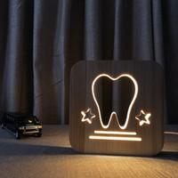الإبداعية الخشب الأسنان مصباح غرفة نوم السرير ضوء الليل usb إمدادات الصمام الجدول مصباح مجوفة خارج مصباح الليل