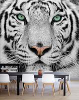 Carta da parati personalizzata Bacal Foto Tiger Animal sfondi 3D Nero Bianco grande fondale murale Soggiorno TV 3D per pareti Carta da parati Rotolo