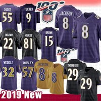 Baltimore Maillot 8 Ravens Lamar Jackson 29 comte Thomas 81 Hayden Hurst 9 Justin Tucker 22 chandails de football de Mark Ingram ll 57 C.J. Mosley