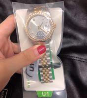 U1 Data de Fábrica Mens Mulheres Relógios de Pulso de Pulso de Média 36mm Média Mecânica Mecânica de Sapphire Vidro Homens de Inoxidável Relógios de Relógio de Relógio Feminino