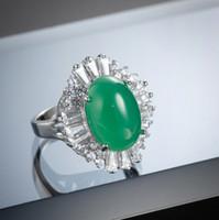 Regalo Aniversario Chrysoprase Gems oval 925 anillos de plata decorativo blanco de la frontera de circón de las mujeres por los anillos de Monter