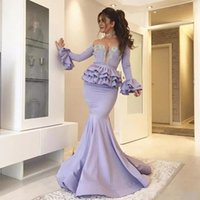 Arabic See Through Lavender Mermaid Prom Dresses Long Sleeve...
