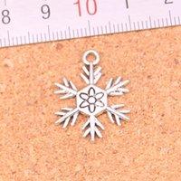 117pcs السحر ندفة الثلج الثلوج العتيقة الفضة مطلي المعلقات جعل DIY اليدوية التبتية فضة مجوهرات 18 * 24MM