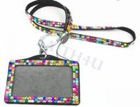 alça de pescoço Rhinestone Bling cordão pingente de diamante de cristal com Horizontal Forrado Titular ID Badge e chaveiro para celular chave Id
