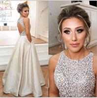 Chic O Neck Long Prom Dresses 2019 Ivory Sleeveless A Line v...