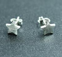 2019 nova moda banhado a prata esterlina 925 brincos de arame de desenho fosco estrela do parafuso prisioneiro brincos para mulheres / amante brinco jóias 15 pares