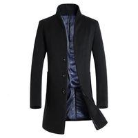 2019 Nouveau long manteau de laine Hommes Mode Caban Veste Laine Vestes d'hiver Mens Pardessus Woollen