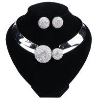 Klassieke Crystal bruids sieraden sets zilveren kleur choker ketting oorbellen sieraden sets bruiloft sieraden voor vrouwen