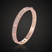 Klassische Luxusdesigner Schmuck Frauen Armband voller Kristall Herren Gold Armbänder Edelstahl 18k Liebe Armband mit Box
