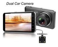 """Envío Gratis D207 Cámara DVR para coche 4 """"Lente doble Cámara de visión trasera Cámara de visión trasera G-Sensor Dash Cam Grabador de video Registrador Monitor de estacionamiento"""