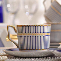 أزياء الخزف فنجان القهوة والصحن سوبر وايت العظام الصين الأزرق جولة تصميم فنجان القهوة مجموعة كوب واحد الصحن منتج جديد