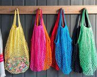 Bolsa de compras reutilizável 14 cor tamanho grande portátil shopper tote malha rede de algodão tecida sacos de armazenamento em casa