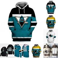 San Jose Sharks Hoodie Jersey para hombre 8 Joe Pavelski 9 Evander Kane 39 Logan Couture 65 Erik Karlsson 88 Brent Burns camisetas de hockey