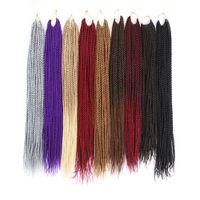 12 прядей / пакет Синтетические крючковые косы наращивания волос 18 дюймов 22 дюйма Kanekalon Волокно скручивается Чистый цвет