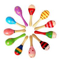 Juguetes de madera del bebé bola bebé confunde arena martillo juguete del instrumento musical de sonido bebé para Formación Attetion juguete color al azar