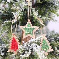 Новая Рождественская елка украшения Висячие Деревянная ткань стикер Xmas Главная партия Декор Подвески Деревянный кулон украшение