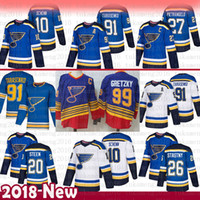 Mens St. Louis Blues 91 Vladimir Tarasenko Hokey Formaları 27 Alex Pietrangelo 10 Brayden Schenn 20 Steen 26 Paul Stastny 99 Wayne Gretzky