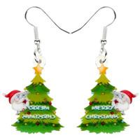 Акриловая Рождество Санта-Клаус дерево украшения серьги падение мотаться украшения украшения для женщин Девушки подарков Natal партии Новый