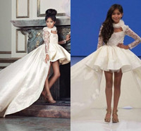 Princesse Haut Bas dentelle à manches longues filles Pageant Robes fille Communion robe de bal d'enfants Tenue de soirée fleur Robes de mariée F1