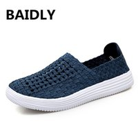 Summer Breathable Woven Shoes Mens Casual Shoes Slip on Bran...