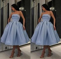 Cheap Strapless Homecoming Dress Simple Short Prom Dress Blu...