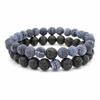 Pulsera clásica de piedra natural de los hombres 8 mm perlas de lava braslet para los hombres fresco motorista par braclet pulsera masculina brazalete regalo de Heren